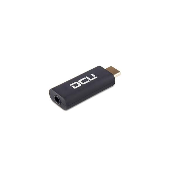 Dcu adaptador negro usb tipo c a entrada de audio jack 3.5mm de alta calidad